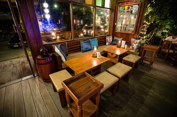 muebles de madera de paulownia restaurante mesa de bar barril