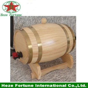 100% handmade pine wooden wine barrel for home decoration