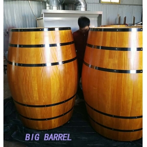 225L decorative pine wood whisky barrel table