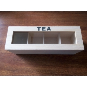China manufacturer customizable cheap paulownia wood tea box with 4 compartments