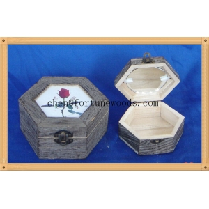 Different color and painting gift pine wooden material box for gift packaging