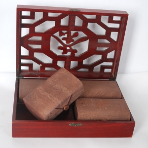 Tea packing wooden box with machine cut design