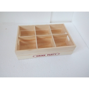 Wood craft box with compartment for storage