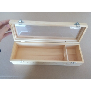 wooden gift box with plexiglass clear lid