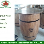 China restaurant furniture paulownia wood barrel bar table factory