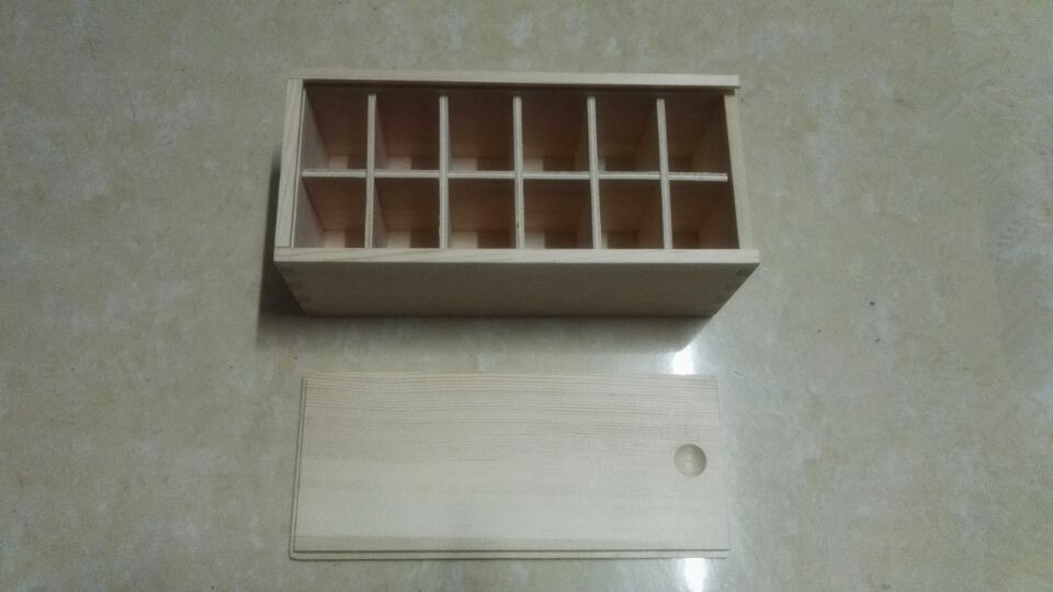 Sliding Lid Pine Wood Box With 12 Compartments